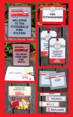 Fireman Party Printables, Invitations & Decorations | Birthday Party | Editable Theme Templates | INSTANT DOWNLOAD $12.50 via SIMONEmadeit.com