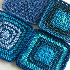 colours of the sea//Ravelry: Solid Granny Square for Beginners pattern by Shelley Husband