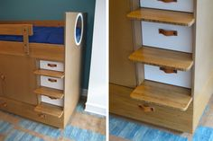 This Dumbo Storage Bed in bamboo has drawers built in to each step to maximize storage. Steps are notched onto the sides.