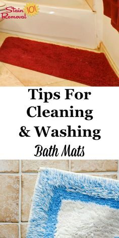 Here are instructions and tips for cleaning and washing bath mats and rugs, so they stay fresh, dry and fluffy, and the bathroom looks and smells great on Stain Removal 101 Deep Cleaning Tips, House Cleaning Tips, Rug Cleaning, Spring Cleaning, Cleaning Lists, Cleaning Solutions, Cleaning Supplies, Bathroom Cleaning Hacks, Laundry Hacks