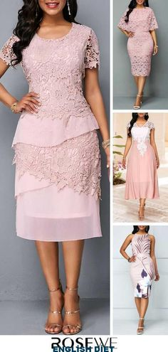 Zipper Back Round Neck Short Sleeve Lace Dress Shop our favorite dresses and sho The Dress, Pink Dress, Peplum Dress, Dress Lace, Pink High Low Dress, Online Shopping For Women, Latest Fashion For Women, Mother Of The Bride, Evening Dresses
