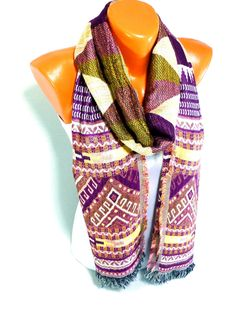 Unisex Scarf, Shawl, Cotton Scarf, fringed scarf, Fall Fashion Accessory, Thin cotton fabric, Unisex fashion Accessories, Mother's Day Gift - pinned by pin4etsy.com