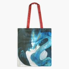 CLEARANCE - Guardian Spirits Cotton Tote Bag with Zipper Pocket - Blue Dragon Japanese Folklore, Blue Dragon, Watercolor And Ink, The Guardian, Deities, Cotton Tote Bags, Constellations, Colored Pencils, Zipper