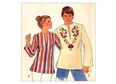 Vintage Kurta Style Easy Pullover Top Sewing Pattern with Embroidery Transfer Simplicity 7440 Bust 34 36 Womens