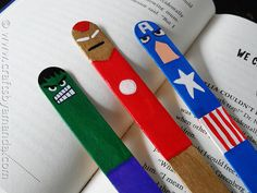 Avengers Bookmarks Craft for Kids--these would be super cute favors, especially coupled with a book.
