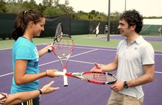 Laura Robson trades in her trusty Blade for a hit with the Steam 99S at Wilson's Spin Effect event in Miami.