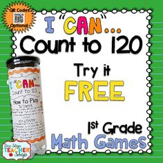 Are you in need of a FUN way for your students to practice the math standards, and review for assessments? These I CAN Math games make reviewing and preparing for any kind of math test EXCITING all year long!This FREE I CAN game reinforces the 1st grade Common Core Math Standards focusing on Counting to 120.If you like this, check out my   I CAN 1st Grade math game BUNDLE!!! {CLICK HERE} and my ULTIMATE 1st Grade Math Bundle {CLICK HERE}!!