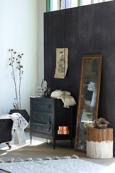 darks and neutrals and a beautiful color palette. washed wood dresser. #anthropologie #anthrofave