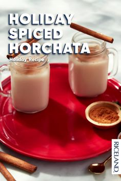 Holiday Spiced Horchata is the drink of the season! With nutmeg and cloves, it smells like winter. Serves well in batches for holiday parties or for a cozy night in! Holiday Rice Recipe, Holiday Recipes, Holiday Meals, Christmas Recipes, Sweets Recipes, Cooking Recipes, Boston Baked Beans, Baked Bean Recipes, Alcoholic Desserts