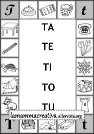 scheda di sillabe tatetitotu da collegare alla parola Colouring Pages, Printable Coloring Pages, Cursive, Worksheets, Diagram, Coding, Printables, Education, Italian Language