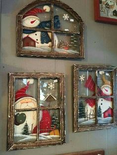 These Christmas window wall decor are adorable - Weihnachten - Natal Christmas Signs, Rustic Christmas, Christmas Art, Christmas Projects, Winter Christmas, Christmas Ornaments, Christmas Windows, Christmas Ideas, Christmas Decorating Ideas
