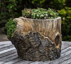 Campania International, Inc Faux Bois Cast Stone Pot Planter Tree Stump Planter, Log Planter, Planter Boxes, Planter Ideas, Stone Planters, Urn Planters, Succulent Planters, Garden Art, Garden Design