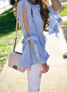 Bell Sleeve Bow Top