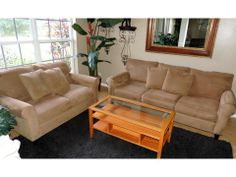 Camel MicroFiber Sofa and Matching Loveseat from Havertys
