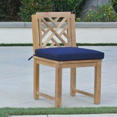 Willow Creek Designs Monterey Side Chair with Cushion Fabric: Seville Seaside