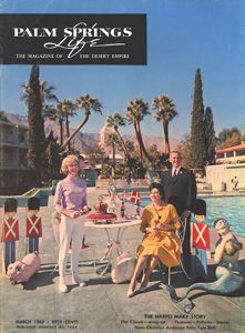 March1963 ABOUT THE COVER: Lovely Villager Janet Leigh is a real life Fairy Tale princess this month while assisting with the Hans Christian Andersen Fairy Tale Ball sponsored by the Pathfinders for the benefit of the Palm Springs Boys Club. With Janet on the cover are Mrs. Earl Buckingham, co-chairman of the Ball and James Morton, chairman.The cover setting is poolside at Ray Ryan's beautiful and historic El Mirador Hote