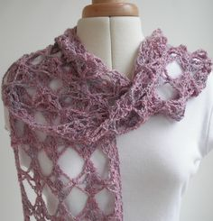 Wisteria crochet scarf Crochet pattern by Agrarian ArtisanItems similar to Wisteria Crochet Scarf PDF pattern on EtsyA lacy crochet scarf that grows very quickly and takes only one skein ofKnitting inspiration is at your fingertips with over knitting One Skein Crochet, Crochet Scarves, Crochet Shawl, Crochet Hooks, Crochet Granny, Beginner Knitting Projects, Knitting For Beginners, Baby Knitting Patterns, Crochet Patterns