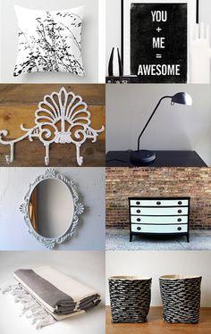 black & white bedroom decor / etsy treasury list