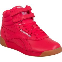Reebok Freestyle Hi Fitness Women's High-Top Sneaker F Sneaker ($75) ❤ liked on Polyvore featuring shoes, sneakers, red, hi tops, red shoes, red trainers, reebok trainers and red high top sneakers