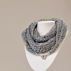 Long Gray Scarf -Unique handmade gray scarf made of silk thread. It has a metallic fastener and it is easy to combine on spring/summer season. The length is 180 cm.
