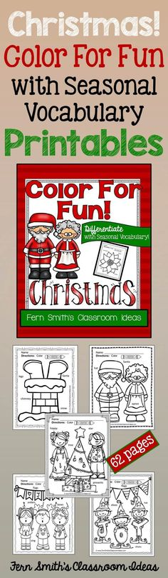 Christmas Fun with Seasonal Vocabulary! Differentiate Your Class with Some Color For Fun Printable Coloring Pages that Includes Two to Five Seasonal Vocabulary Words - {62 coloring pages equals less than 8 cents a page.} #Free Christmas Coloring Page in the FREE Preview Download! #TPT $paid