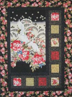 "Do you have one of those of those fabrics you just can't bear to cut? Display it in this quilt!   Put your favorite fabric panel or fabric repeat in the center and cut up coordinating prints for the smaller blocks. Finished size is 46 1/2"" x 62 1/2""."