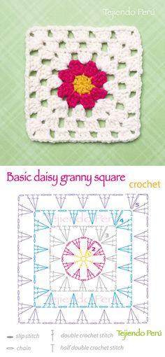 Crochet: basic daisy granny square pattern (diagram or chart)! Granny Pattern, Crochet Blanket Patterns, Granny Square Crochet Pattern, Crochet Motifs, Crochet Granny, Crochet Diagram, Crochet Home, Crochet Chart, Diy Crochet