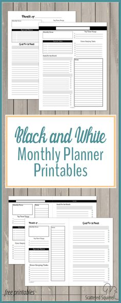 Black and white monthly planner printables make color coding your plans a breeze. They're ink friendly and can easily be dressed up with your favourite stickers and washi.