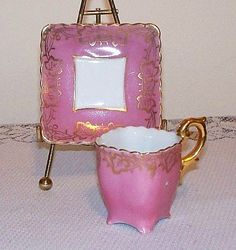 It's hip to be square!! Awesomely cute Wairo China Pink Square Demitasse Tea Cup and Saucer