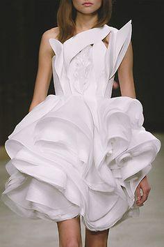 Rippling White Textures - sculptural fashion; three-dimensional dress details