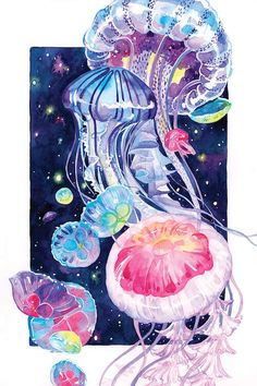 illustration art watercolor ~ illustration art _ illustration art drawing _ illustration art vintage _ illustration art girl _ illustration art watercolor _ illustration art wallpaper _ illustration art black and white _ illustration art design Jellyfish Drawing, Jellyfish Painting, Watercolor Jellyfish, Jellyfish Tattoo, Jellyfish Quotes, Pet Jellyfish, Jellyfish Sting, Illustration Art Drawing, Art Drawings
