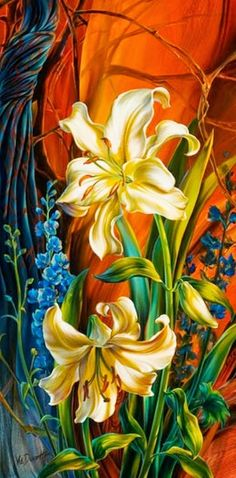 Vie Dunn-Harr Contemporary/Realist Painter from San Antonio, TX Amazing! Check out her Website! Art Floral, Flower Fairies, Flower Art, Diy Painting, Painting & Drawing, Art Asiatique, Abstract Flowers, Beautiful Flowers, Decoupage