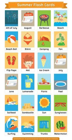 Free printable summer flash cards. Download them in PDF format at http://flashcardfox.com/download/summer-flash-cards/
