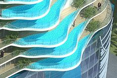 Nieuwe conceptfoto's van het knotsgekke appartementencomplex met zwembaden als balkon in Mumbai.