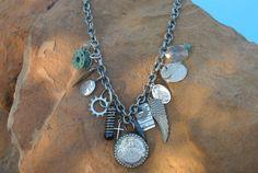 Found Object Necklace in Gunmetal An por simplepleasurestx en Etsy