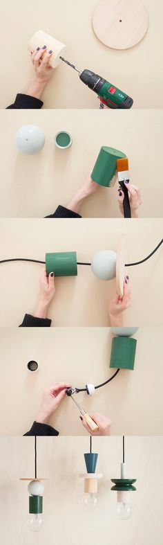 Lámparas geométricas DIY - heju.fr - DIY Suspension Totem Lamp