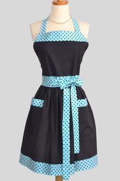 Retro Vintage Bib Apron / Cute Handmade Full Apron in Charcoal Grey with Tiffany Blue and Grey Dots. $36.00, via Etsy.