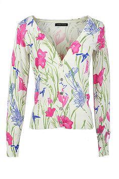 2014 new fashion spring women flower dot printing cardigan long sleeve V neck thin sweater with button punk harajuku short coat
