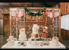 This would be an impressive dessert table for any event!!! Thats a lot of cake :) i would probably vary the desserts a bit and would HAVE to add at least one green or floral to the table