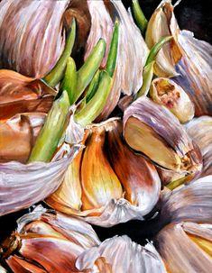 Allium Sativum by Diane Sun Natural Form Artists, Natural Forms, Painting Still Life, Still Life Art, Botanical Art, Botanical Illustration, Vegetable Painting, Ap Drawing, Observational Drawing