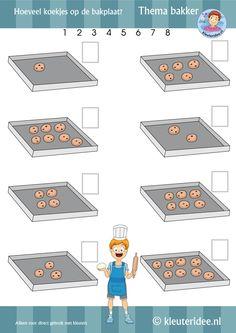 Hoeveel koekjes op de bakplaat, thema bakker, rekenen voor kleuters 2, by juf…