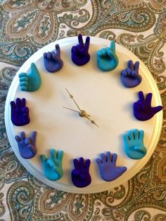 Custom American Sign Language Clock – ASL Art – Unique Wall Clock – Wood and Clay – Child's Playroom or Nursery Clock – You Choose Colors / Photo Klick Hand Sculpted American Sign Language Clock is a unique piece of wall art that looks wonderful Clay Crafts, Diy And Crafts, Crafts For Kids, Clay Projects, Classroom Clock, Classroom Walls, Math Clock, Wall Clock Design, Clock Wall