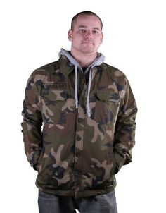 The DGK Veteran Camo Jacket features a button up front, drawstring hood, chest and front pockets