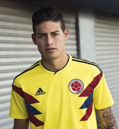 James Rodriguez in the adidas 2018 Colombia home jersey James Rodriguez Colombia, James Rodrigues, Everton, James Rodriguez Wallpapers, Fifa, Colombia Soccer, Adidas Colombia, Equipe Real Madrid, Madrid Football