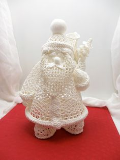 Vintage Crocheted Santa Sculpture; Stiffened white crocheted Christmas decor