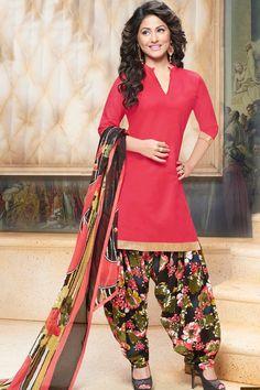 Red & Multi Unstitch Cotton Patiala Suit