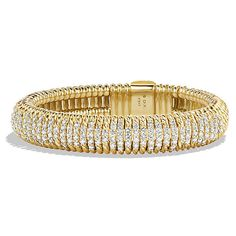 David Yurman Bracelet with Diamonds in 18K Gold, 12mm (27,230 CAD) ❤ liked on Polyvore featuring jewelry, bracelets, gold jewellery, david yurman jewelry, 18k jewelry, yellow gold jewelry and gold diamond bangle