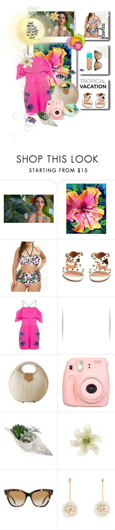"""""""💙🐠Live by the Sea🐠💙"""" by maijah ❤ liked on Polyvore featuring Valentino, Matthew Williamson, Polaroid, Allstate Floral, Clips, SALT., Lele Sadoughi, Pacifica, Salt Water Sandals and tropical"""