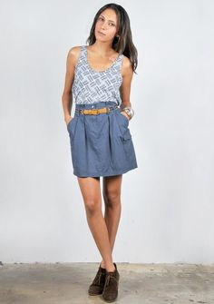 love the casual denim skirt and oxfords - cute