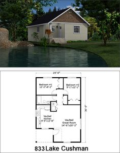 Reality Homes, Lake Cushman $56,900 Tiny House Cabin, Tiny House Living, 2 Bedroom House Plans, Small House Floor Plans, Cottage Plan, Cabins And Cottages, Sims House, Cabin Plans, House Layouts